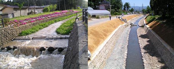 4) 粗朶柵工を使った水路