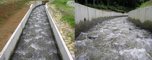 5) 急傾斜水路(減勢水路) 急勾配の斜流水路に人工粗度を設け、減勢しつつ通水する。